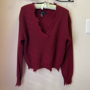New Distressed Maroon Sweater